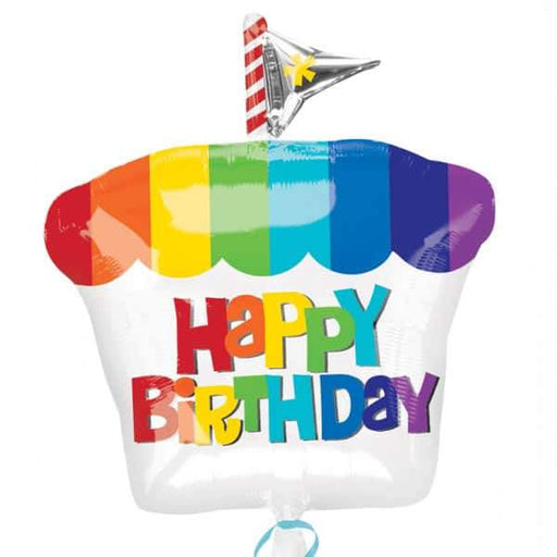 18 Inch Happy Birthday Rainbow Cupcake Foil Balloon