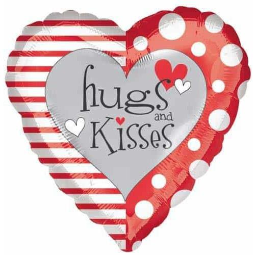"18"" Red White Hugs And Kisses Foil Balloon"