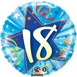 18 Shining Star Bright Blue Foil Balloon