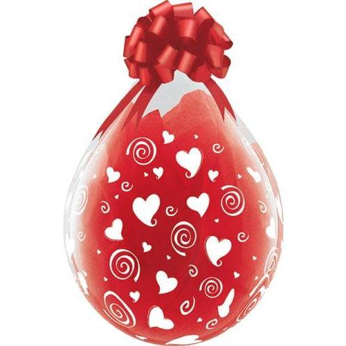 "18"" Swirling Hearts A Round Stuffing Latex Balloons 25pk"