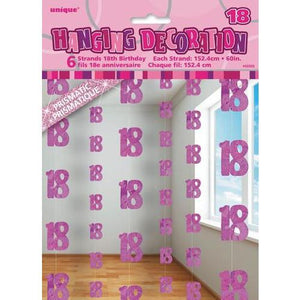 18th Birthday Pink Glitz Hanging Decoration