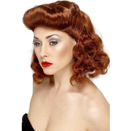 1940s Auburn Pin Up Wig With Loose Curls