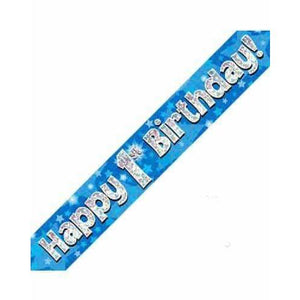 1st Birthday Blue Holographic Banner