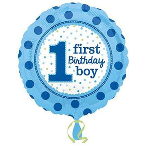 1st Birthday Boy Foil Balloons