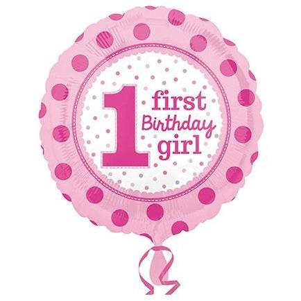1st Birthday Girl Foil Balloons