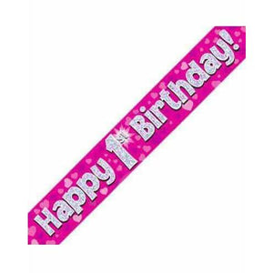 1st Birthday Pink Holographic Banner