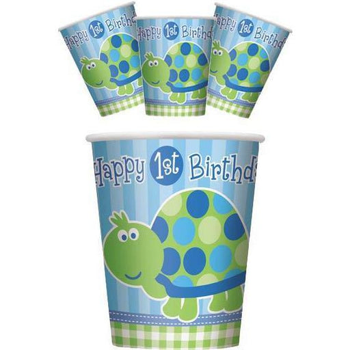 1st Birthday Turtle Paper Cups x8
