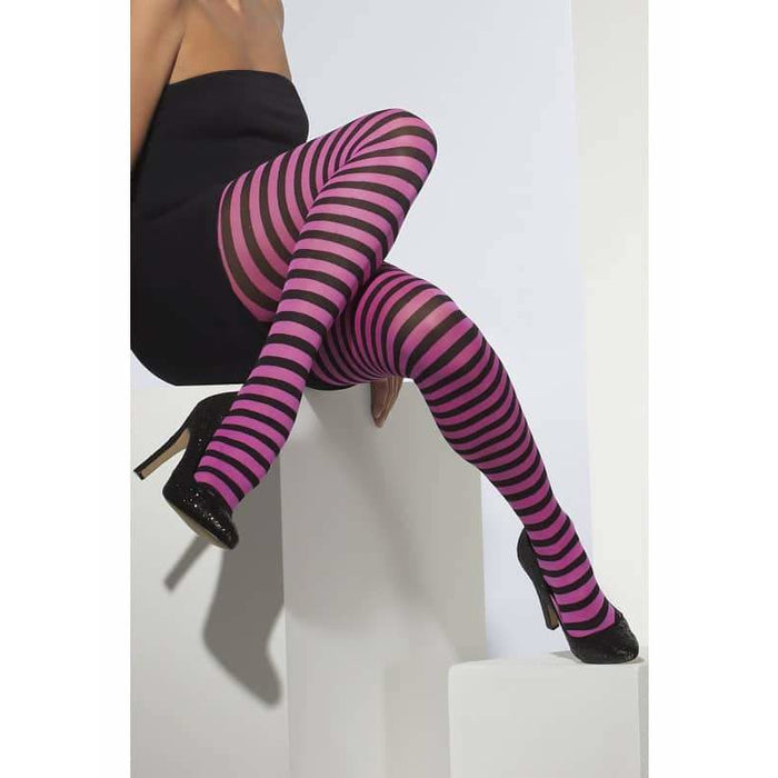 Pink And Black Striped Tights