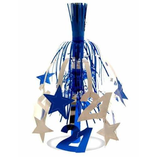 21 Blue And Silver Star Decoration