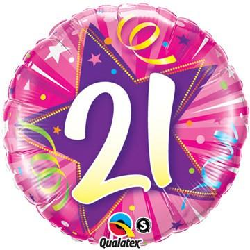 21 Shining Star Hot Pink Foil Balloon