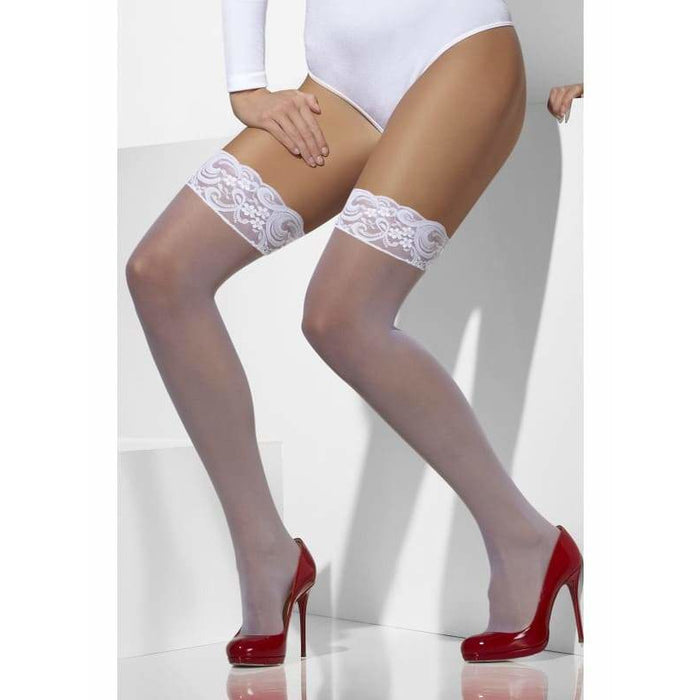 White Lace Top Sheer Hold Ups
