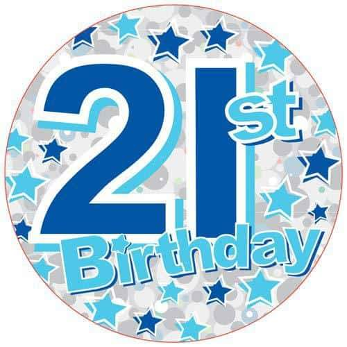 21st Birthday Blue Holographic Party Badge