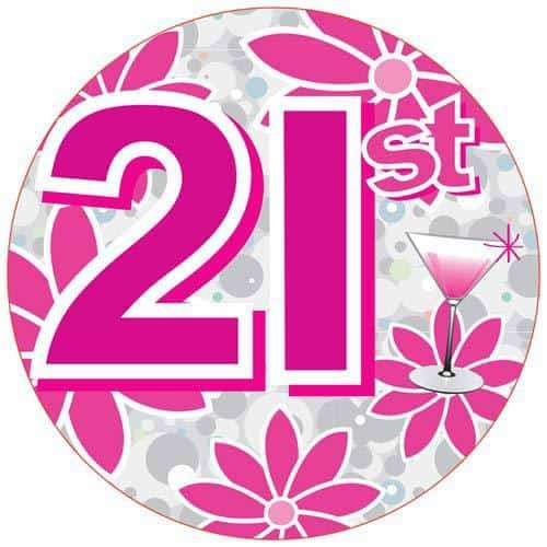 21st Pink Holographic Party Badge