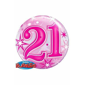 21st Pink Starburst Sparkle Single Bubble Balloon