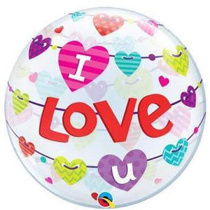"22"" I Love You Banner Hearts Single Bubble Balloon"