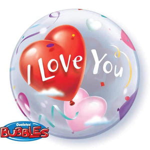 "22"" I Love You Hearts  Single Bubble Balloon"