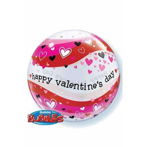 "22"" Valentines Heart Waves Single Bubble Balloon"