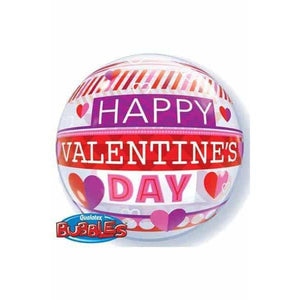"22"" Valentines Stripe Patterns Single Bubble Balloon"