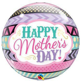 Happy Mother Day Dots And Stripes Single Bubble Balloon