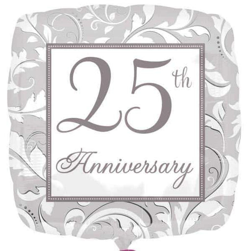 25th Silver Anniversary Elegant Scroll Foil Balloons