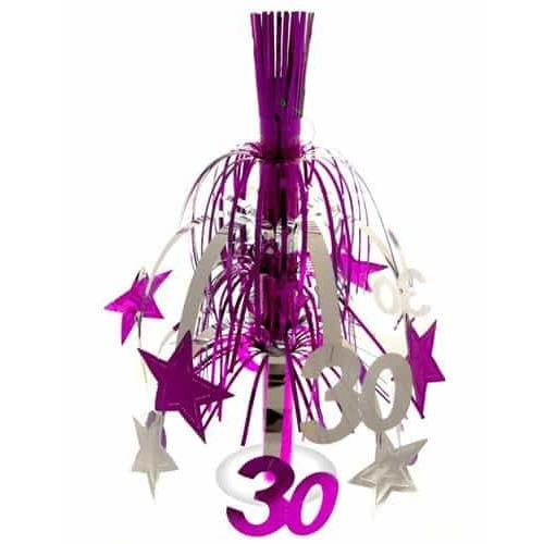 30 Pink And Silver Star Decoration