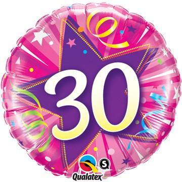 30 Shining Star Hot Pink Foil Balloon