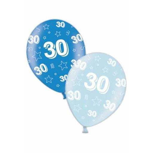 30th Birthday Blue Latex Balloons x25