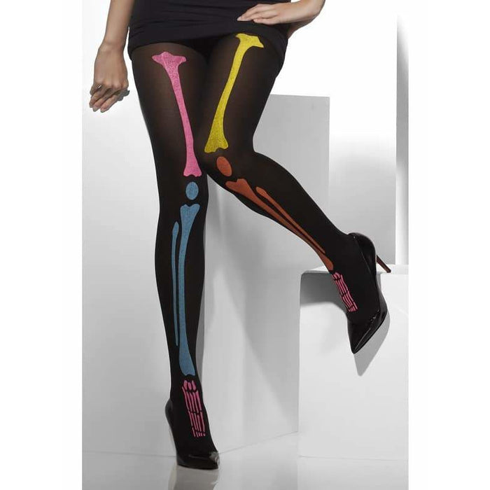 Neon Opaque Skeleton Tights