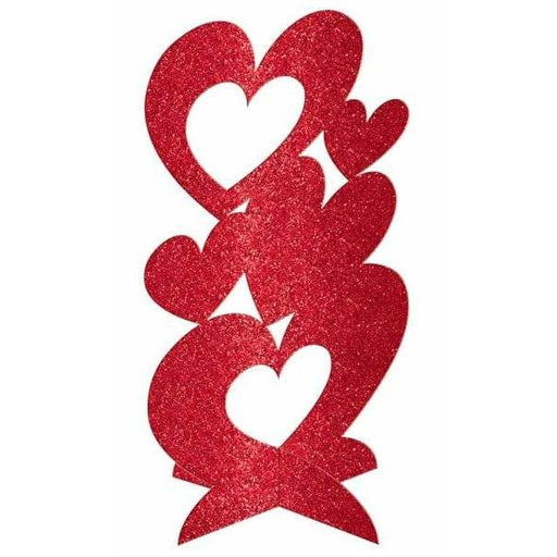 3D Red Heart Glitter Decoration