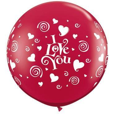 3ft I Love You Swirling Hearts Giant Latex Balloons 2pk