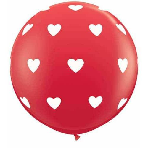 3ft Red Big Hearts A Round Giant Latex Balloons 2pk