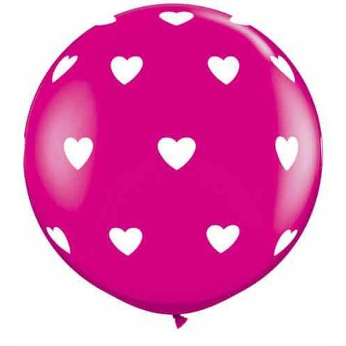 3ft Wild Berry Big Hearts A Round Giant Latex Balloons 2pk
