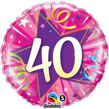 40 Shining Star Hot Pink Foil Balloon