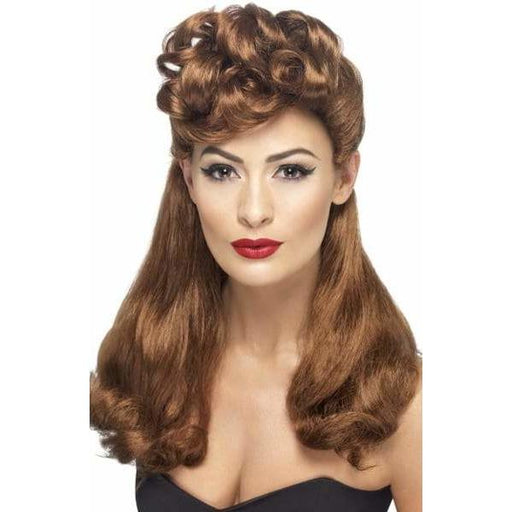 40s Vintage Auburn Wig With Curls