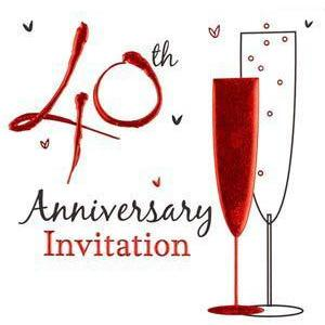 40th Anniversary Card Invitations