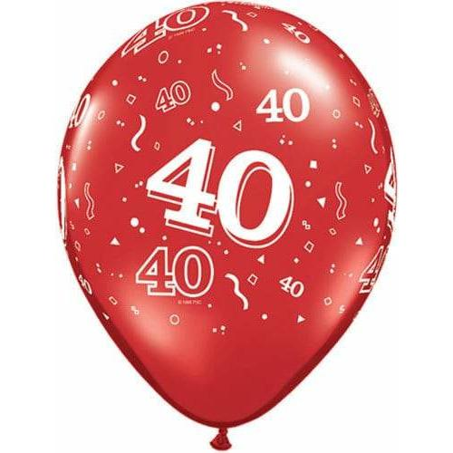 40th Birthday Ruby Red Latex Balloons x25