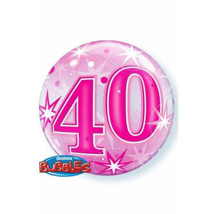 40th Pink Starburst Sparkle Single Bubble Balloon
