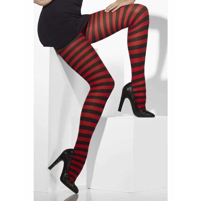Red And Black Striped Opaque Tights
