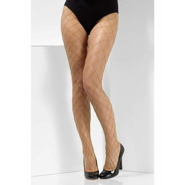 Khaki Diamond Net Tights