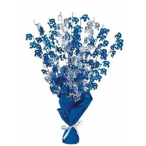 50 Blue Glitz Balloon Weight