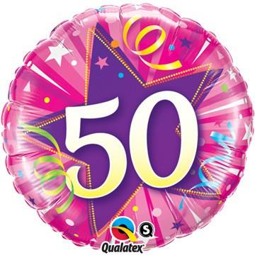 50 Shining Star Hot Pink Foil Balloon