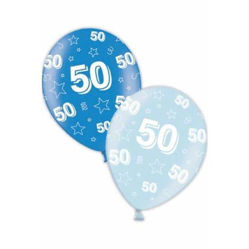 50th Birthday Blue Latex Balloons x25