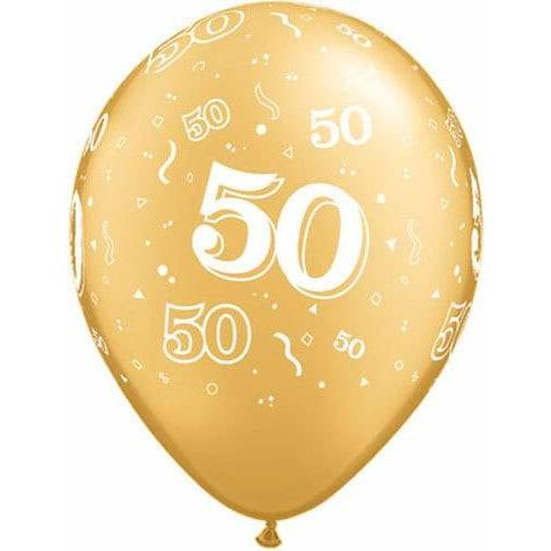 50th Birthday Gold Latex Balloons x25