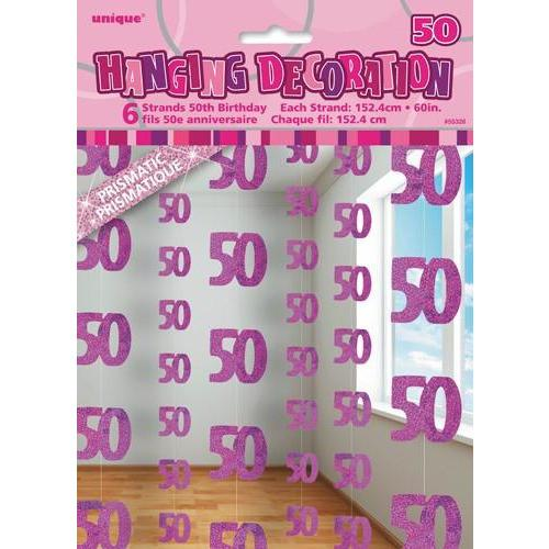 50th Birthday Pink Glitz Hanging Decoration