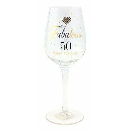 Fabulous At 50 Wine Glass