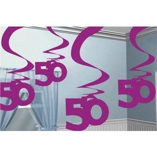 50th Pink Hanging Swirl Decorations