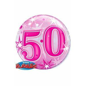 50th Pink Starburst Sparkle Single Bubble Balloon