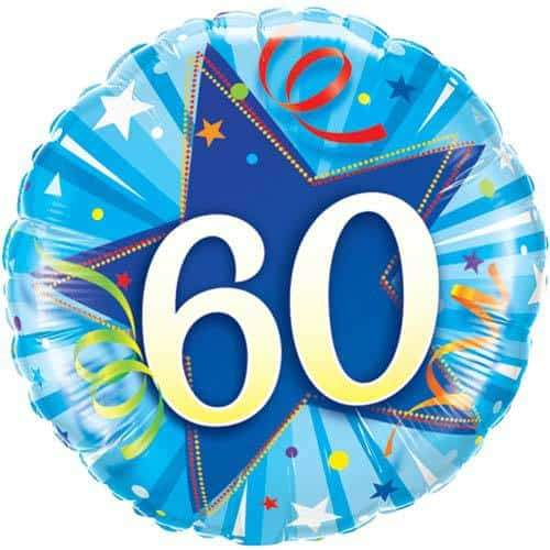 60 Shining Star Bright Blue Foil Balloon