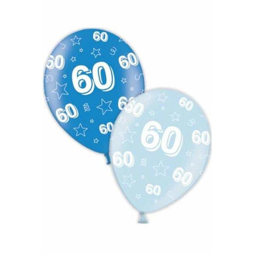60th Birthday Blue Latex Balloons x25