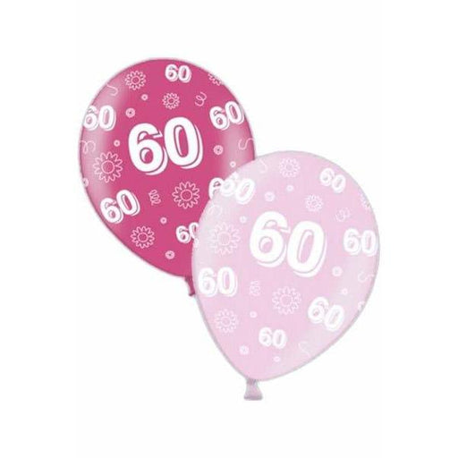 60th Birthday Pink Latex Balloons x25